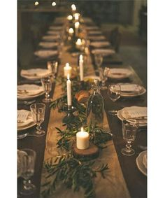 Fall Entertaining Ideas - DuJour-- natural woods and green on brown paper or burlap runner. Simple, autumn fete.