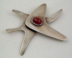 Ed Wiener Modernist Jewelry Sterling Brooch