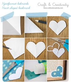 ideas for origami bookmark corner paper hearts Cute Bookmarks, Paper Bookmarks, Corner Bookmarks, How To Make Bookmarks, Origami Bookmark Corner, Bookmark Craft, Bookmark Ideas, Fun Crafts, Crafts For Kids