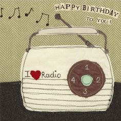 4115+-+vintage+radio+birthday+card+-+Size Card+15cm+x+15cm.Material Our+stationary+range+is+printed+on+high+quality+card+and+comes+with+either+red+or+brown+kraft+envelopes.Design+detail Blank+on+the+inside+for+your+own+message.