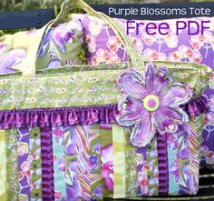 FREE PDF Sewing Pattern:  Purple Blossoms Tote Bag from Kathy Davis #sewing #quilting #fabric