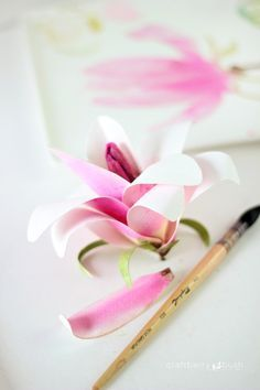 Craftberry Bush | Watercolor paper magnolia flower tutorial | http://www.craftberrybush.com
