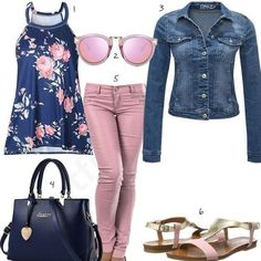 Schickes Damen-Outfit in Rosa und Blau Chic women& outfit with a lightweight top, pink top and slim fit jeans, only denim jacket, sandals and bag by Nicole & Doris. The post Chic women& outfit in pink and blue appeared first on Leanna Toothaker. Classy Outfits, Chic Outfits, Fall Outfits, Fashion Outfits, Womens Fashion, Pink Jeans Outfit, Looks Jeans, Mode Jeans, Elegantes Outfit
