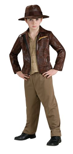 Deluxe Indiana Jones Children's Halloween Costume - This is an officially licensed Indiana Jones costume. The costume includes a brown faux leather jacket with an Indiana Jones logo on one side of the chest, and has an attached tan colored shirt with button and pocket patterns. There are also a pair of brown stretch cotton pants, and Indiana Jones', signature brown faux leather fedora. #indianajones #crusader #costume #yyc #calgary #kids #children #movie