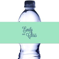 Bottled water wrapped in personailzed water bottle labels custom printed with monogram of couple's first names with Mint Green background color and Navy Blue text color Personalized Labels, Custom Labels, Water Bottle Labels, Water Bottles, Mint Green Background, Bottled Water, Wedding Souvenir, Wedding In The Woods, Text Color