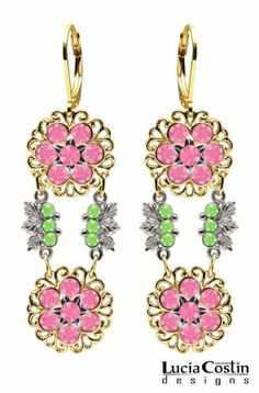 Lucia Costin Lever Back Dangle Flower Earrings Made of 14K Yellow Gold over .925 Sterling Silver with Pink, Light Green Swarovski Crystals, Filigree Ornaments and Sterling Silver Flower Center; Handmade in USA Lucia Costin. $87.00. Unique jewelry handmade in USA. Mesmerizing enough to wear on special occasions, but durable enough to be worn daily. Floral earrings amazingly designed by Lucia Costin. Amazingly studded with rose and peridot Swarovski crystals. A perfect femini...