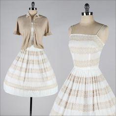 vintage 1950s dress . white cotton eyelet . by millstreetvintage, $145.00