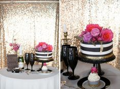 Glamorous spring wedding inspiration in gold, black and lots pink! Cake and Champagne!