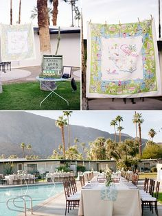 Outdoor wedding with palm trees in California