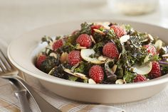 Driscoll's Kale Salad with Raspberries, Apples and Lemon Ginger Vinaigrette www.driscolls.com