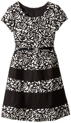 Amazon.com: Amy Byer Big Girls' Textured Rose Blocked Dress: Clothing