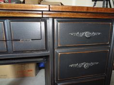 Old sewing cabinet refinish. Love the dark walnut stain with the black paint!