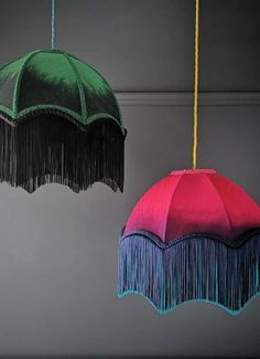How gorgeous and fun are these colorful bespoke lampshades? UK based BeauVamp combines traditional lamp making methods with a contemporary twist, using handwoven ombré silks, velvets and and more importantly, loads of soft and supple fringe. Interior Design Living Room, Interior Decorating, Traditional Lamps, Diy Home Accessories, I Love Lamp, Lamp Shades, House Colors, Decoration, Diy Home Decor