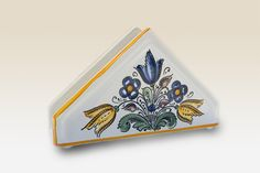 Napkin Holder with blue yellow brown Flower. Haban by HabanCeramic, Yellow And Brown, Blue Yellow, Kitchenware, Napkins, Ceramics, Flowers, Log Projects, China Painting, Ceramica