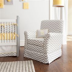 Gray Zig Zag Glider | Carousel Designs    Technically this is made for a baby room but I like it for a bedroom.