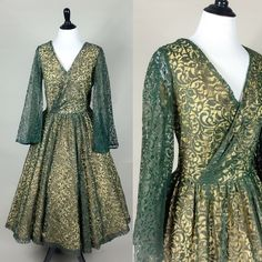 A personal favorite from my Etsy shop https://www.etsy.com/listing/227231389/yvette-dress-50s-dark-green-floral-lace