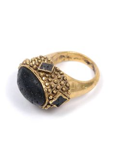 Gold ring with black stone, antique relic look