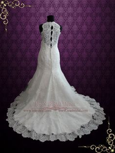 Sleeveless Vintage Style Lace Fit and Flare Wedding Dress | Enma | Ieie's Bridal Wedding Dress Boutique