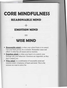 The Art of Dialectical Behavior Therapy: Core Mindfulness (Wise Mind) Mental Health Therapy, Mental Health Counseling, School Counseling, Therapy Worksheets, Therapy Activities, Wise Mind, Mindfulness Exercises, Mindfulness Therapy, Therapy Tools