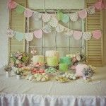 cute backdrop for shower....like the shape of this bunting...looks like baby bibs!