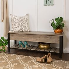 Gray Wash Open-Top Storage Bench with Shoe Shelf. Decorative Storage for entry way, hall or mudroom. Slatted Shelves, Wood Storage Bench, Sofa Furniture, Living Room Furniture, Harvey Furniture, Nice Furniture, Furniture Storage, Industrial Furniture, Grey Wash