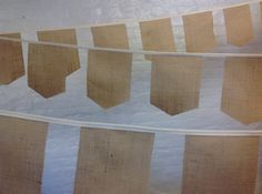Unique rustic wedding banquet wedding bunting with square shield style hessian burlap flags sold by the meter