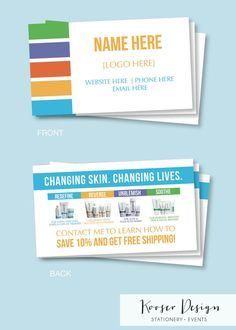 Rodan Fields business card template Rodan and Fields Pinterest