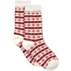 Charter Club Women's Snowflake Fair Isle Socks ($4.50) ❤ liked on Polyvore featuring intimates, hosiery, socks, ivory, charter club and fair isle socks