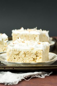 Coconut Cream Poke Cake: Homemade vanilla cake filled with homemade coconut cream pudding, topped with whipped cream and toasted coconut -- the cake for coconut lovers! Make it from scratch or use cake mix or pudding mix to make it quick and easy!