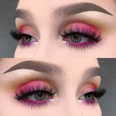 WEBSTA @ helenesjostedt - Colourful!  I used @meltcosmetics eyeshadows radioactive and neon from the radioactive stack | @inglot_cosmetics body sparkles in 52 | @maccosmetics extra dimension skinfinish highlight in tutu | @slaylashes in hypnotic | @anastasiabeverlyhills dipbrow pomade and brow powder in taupe ✨#fiercesociety #wakeupandmakeup #dressyourface #makeupartist #makeupartist #vegas_nay #hudabeauty #makeupmafia #mua #makeupartistsworldwide
