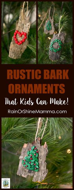 DIY Christmas Ornaments from Bark. All-natural and easy Christmas tree ornaments that kids can make! Nature-inspired and beautiful – a perfect homemade gift for the grandparents or a teacher. This is a holiday craft that is fun for kids and adults alike. Homemade Christmas Gifts, Christmas Crafts For Kids, Diy Christmas Ornaments, Homemade Gifts, Holiday Crafts, Holiday Fun, Christmas Trees, Yule Crafts, Spring Crafts