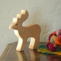Carved Wooden DEER Handmade Toy Animal Waldorf by jupiterschild, $7.00