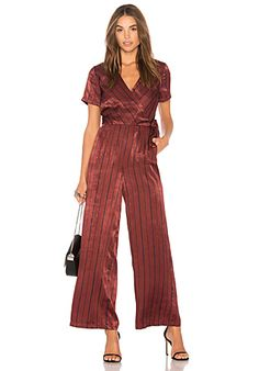 J.O.A. Wide Leg Jumpsuit in Wine Multi | REVOLVE