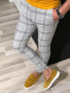 Collection: Spring – Summer 19 Product: Slim Fit Plaid Pants Color Code: Gray – Yellow Available Size: Pants Material: viscose , polyester , elestan Machine Washable: Yes Fitting: Slim-Fit Package Include: Pants Only Karohosen Outfit, Plaid Pants Outfit, Terno Slim, Stylish Mens Fashion, Mens Fashion Pants, Womens Fashion, Herren Outfit, Mens Clothing Styles, Apparel Clothing