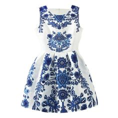 SheIn(sheinside) Sleeveless Blue And White Porcelain Print Flare Dress ($17) ❤ liked on Polyvore