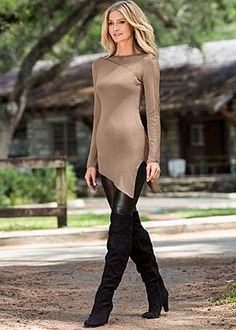 Asymetrical top, faux leather legging & over the knee boots. Whole outfit is Awesome