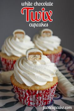 White Chocolate Twix Cupcakes - I like the shortbread cupcake idea.  Will work well with other recipes too!