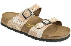 Papillio Sydney Cork Flower Rose Cork/Leather Two thinner, contoured straps make this style very comfortable for those with prominent foot bones. Creative patterns and materials set the Papillio Sydney apart. #birkenstock #birkenstockexpress.com  $105