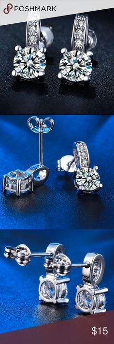 Stud CZ Crystals Silver Earrings New Brand New! Hypoallergenic  Nickel Free  Great for Sensitive Skin! Bundle and Save!!! Bundle and Save!!!  zdazzled Jewelry Earrings