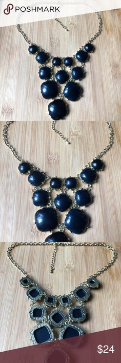 "Black Bauble Bib Collar Necklace Fashion Jewelry Black V shape Design Bauble Bib Necklace with gold setting and chain. Versatile and Gorgeous!!  17"" with 2"" extender chain  Check out the other colors of this necklace in My Closet! NWOT Jewelry Necklaces"