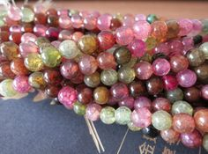 5 strands Agate 6mm Smooth Round Tourmaline Color by CGPGemBeads