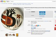 CHARMAE SHIELDS NATSEWAY pot for sale The pot measures 2 3/8 inches tall by 4 inches in diameter. http://www.ebay.com/itm/Beautiful-Parrot-Seed-Pot-Pottery-by-Acoma-Indian-Charmae-Shields-Natseway-/371003596133?pt=LH_DefaultDomain_0&hash=item5661899d65