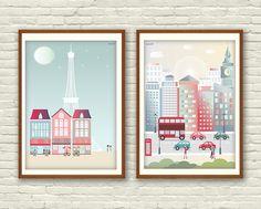 ilustraciones, imprimibles, laminas decorativas, poster paris, poster londres, londres, paris, torre eiffel, cafe, cafeteria, coches, casas