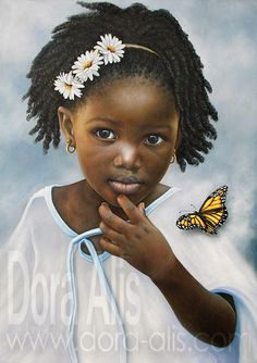 The most beautiful artistic portraits of African children. Portraits of oil on c. African American Artist, African Art, American Artists, Black Love Art, My Black Is Beautiful, Beautiful Artwork, Simply Beautiful, Natural Hair Art, African Children