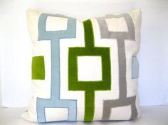 Velvet and linen geometric applique pillow in gray, aqua, and green - modern throw pillow. Green Pillows, Velvet Pillows, Applique Pillows, Modern Throw Pillows, Feather Pillows, Velvet Color, Modern Love, Down Feather, Designer Pillow