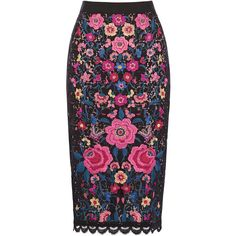 EMBROIDERED LACE PENCIL SKIRT ($93) ❤ liked on Polyvore featuring skirts, embroidered skirt, knee length lace skirt, lace skirt, knee length pencil skirt and pencil skirt
