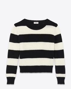 SAINT LAURENT Grunge Crewneck Sweater In Black And Ivory Striped Wool And Cashmere. #saintlaurent #cloth #