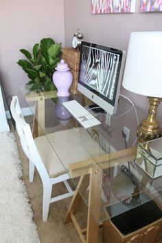 DIY Desk, so Cute! Love the simple idea of plywood or glass on top of two 2-holes bookshelves! How easy!