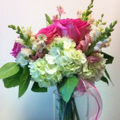 Hand tied arrangement for friends bday. Roses snap dragons, larkspur, hydrangeas, roses, lemon leaf