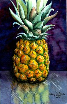 Pineapple by PonderosaPower on DeviantArt Pinapple Painting, Pineapple Drawing, Pineapple Art, Fruit Painting, Pineapple Watercolor, Acrilic Paintings, Cute Canvas Paintings, Pineapple Wallpaper, Art Drawings For Kids